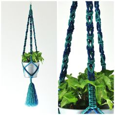 Indoor Plant Hanger // Macrame Plant Hanger // Hanging Planter // Blue Plant Hanger // #13 Jade and Prussian Blue by TheVintageLoop on Etsy