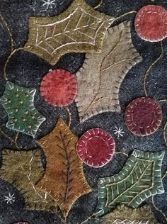 If you are interested in purchasing a piece from Rebekah L. Smith, please contact her via email. All old pieces are sold as is. Prices do not include shipping. Wool Embroidery, Christmas Embroidery, Embroidery Stitches, Fabric Art, Fabric Crafts, Penny Rug Patterns, Felt Pillow, Wool Quilts, Wool Art