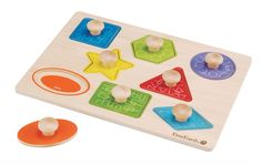 EverEarth Pull Out Shape Puzzle – FSC Wood his knob puzzle with brightly coloured pieces assists children to learn about the different shapes that exist, helps develop their fine motor skills as well as spacial recognition and encourages problem solving,  figuring out how things work are one of the best parts of play.