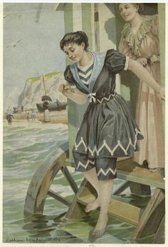 "Bathing from a machine. Front cover of the Illustrated London News, Summer Sarah Kennedy in 'Vintage Swimwear' describes the girl as a ""bathing belle"" who is ""far more outrageously attired than the average female swimmer of that time"". Vintage Bathing Suits, Vintage Swimsuits, Historical Costume, Historical Clothing, Renaissance Clothing, Sarah Kennedy, Vintage Beach Photos, Female Swimmers, Bathing Costumes"