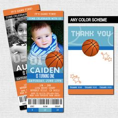 BASKETBALL TICKET INVITATIONS Birthday Party+ Bonus Thank You Card - (print your own) Personalized Printable
