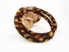 Snake necklace Crochet bead rope Brown beaded от MonistoJewelry