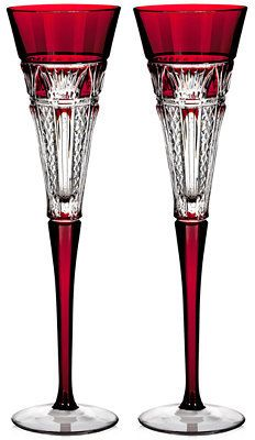 Waterford 2015 Times Square Red Cased Toasting Flutes - Elegant looking stemware.