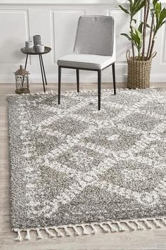 Xanthous Grey Rug Material: Polypropylene Pile Height: Fringe Length: (each side) Construction: Power Loomed Origin: Made inTurkey Moroccan Pattern, Moroccan Design, Moroccan Rugs, Grey Shag Rug, Grey Rugs, Fade Styles, Rug Material, Transitional Rugs, White Rug