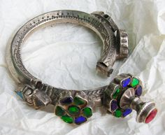 A beautiful silver and glass flower bracelet from Sindh, Pakistan.