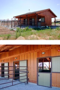 A beautiful and well designed three stall horse barn. By Equine Facility Design. Make this 4 stalls and it might be perfect. Horse Shelter, Horse Stables, Horse Farms, Horse Paddock, Dream Stables, Horse Barn Designs, Barn Layout, Barn Stalls, Horse Barn Plans