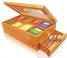 Bamboo Tea Box Chest Clear Hinged Lid 8 Storage Sections with Expandable Drawer #Unbranded