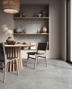 """""""Heritage"""" er en serie fliser inspirert av stein og betong fra @unicomstarker_  Den litt slitte betong-looken gjør at den egner seg for mange ulike stiler. Dining Room, Dining Table, Shelves, Interior Design, Inspiration, Furniture, Kitchen Ideas, Home Decor, Decoration"""