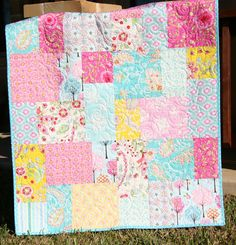 Hey, I found this really awesome Etsy listing at https://www.etsy.com/listing/166444425/pretty-pink-baby-girl-quilt-modern