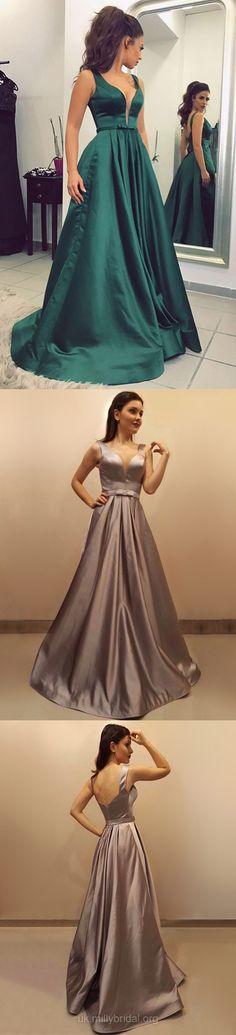 Long Prom Dresses Classy, Green Prom Dresses 2018, Champagne Evening Dresses Princess, V-neck Formal Dresses Open Back