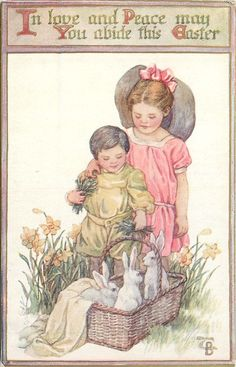 Children looking down at a basket of white rabbits.  Daffodils surround them.  Easter greeting, 1914.