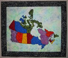 Combining my love of maps and quilting, this quilt was a total joy to make! Picked out my most favorite batiks, drew out some templates and off I went! It turned out so well that I thought I would share it with you! The map of Canada itself measures 37 x 29. It could be used as the center medallion in a larger quilt (as shown in the photos), or mounted in a frame. Use it to plan your next vacation! Let your imagination go and have some fun! Instructions are provided for the quilt shown…
