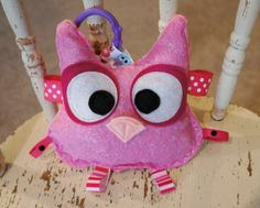 Baby girl toy, Huggable baby owl crinkle toy, pink cotton, felt eyes, and ribbons, comes with a teething link, babies love these.