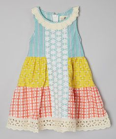 Love this Yellow & Green Windowpane Tiered Dress - Toddler & Girls by Little Anmy on #zulily! #zulilyfinds