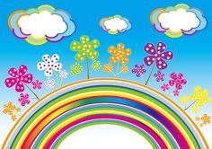 [フリーイラスト素材] イラスト, 風景, 虹, カラフル, 花, 雲, EPS ID:201404260700