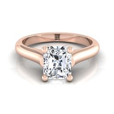 Radiant Diamond Solitaire Engagement Ring With Rounded Shank And Cathedral Setting In Rose Gold Radiant Cut Engagement Rings, Rose Gold Engagement Ring, Solitaire Engagement, Wedding Engagement, Shank, Cathedral, Jewels, Diamond, Collections