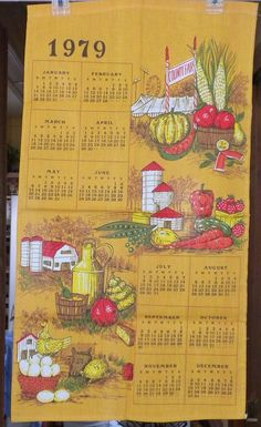 Vintage Calendar Tea Towel with Farms and by VintagePossessions, SOLD