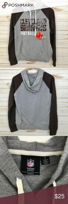 """cleveland browns hoodie Worn once, gray and brown hoodie. Flat measurements: bust 18"""", length 23"""" Tops Sweatshirts & Hoodies"""