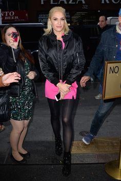Gwen Stefani wearing  Kei Ninomiya  Satin Braided Collar Bomber Jacket, Elliatt Dusk Dress, Christian Louboutin Snakilta 120mm Patent Leather