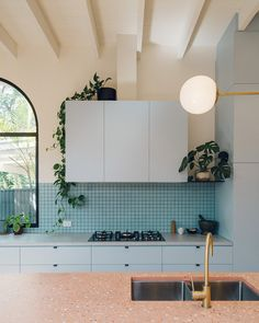 Sans-Arc Studio has added a playful kitchen extension to a cottage in Torrensville, Australia, which is characterised by white-plaster walls, arches and terrazzo. Named the Plaster Fun House, the home is House Design, Interior Deco, Art Deco Kitchen, Open Plan Kitchen, Kitchen, Interior, Kitchen Design, Kitchen Remodel, Kitchen Extension