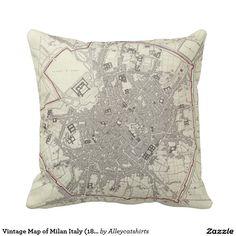Vintage Map of Milan Italy (1832) Pillow