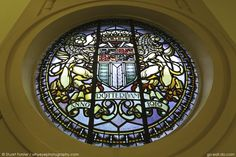 Coat of arms on a stained glass window at the Town Hall (Stadhuis) in Rotterdam, the Netherlands. The grand building opened in 1915. Photo by Stuart Forster.
