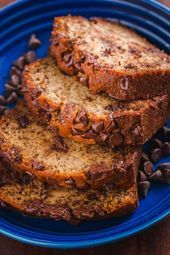 Chocolate Chip Banana Bread is moist and loaded with ripe bananas and melty morsels of chocolate chips. This banana chocolate chip bread is a real treat. Healthy Banana Bread, Chocolate Chip Banana Bread, Baked Banana, Chocolate Chip Recipes, Banana Bread Recipes, Chocolate Chips, Fun Desserts, Dessert Recipes, Sweet Bread