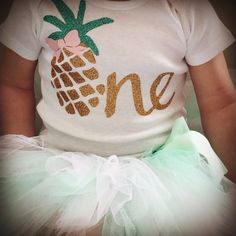 Summer First Birthday Outfit  Pineapple 1st Birthday by BespokedCo