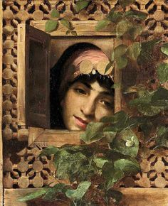 Theodore Jacques Ralli - Greek, 1852-1909,  School of French Academy, orientalist An Oriental woman at a window 1879