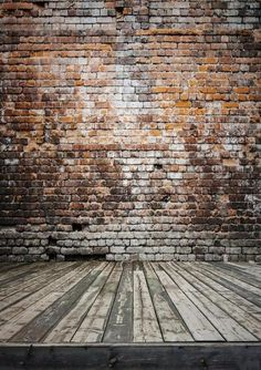 Vintage red brick backdrop wooden floor