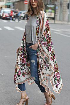 Ladies women/'s navy white tropical floral kimono cover up universal size