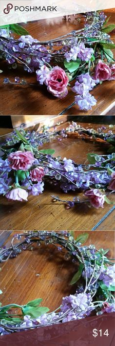 OOAK handmade faux floral crown/circlet This is a great piece for photoshoots, festivals, and weddings! It's lightweight and the flowers can be wrapped and tucked various ways. Accessories Hair Accessories