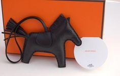 Authentic Hermès Black Rodeo Horse Charm MM VIP Rare