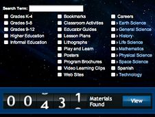 NASA - For Educators. NASA's Education Materials Finder will help teachers locate resources that can be used in the classroom. Users may search by keywords, grade level, product type and subject.
