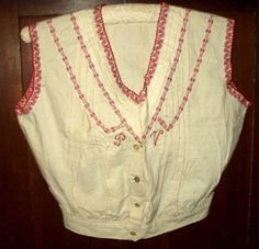 Early 1900's Victorian Edwardian Cotton Muslin Camisole Turkey Red Braid Trim #handmade