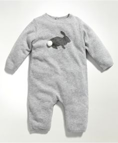 Unisex Welcome To The World Knitted Bunny Romper