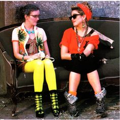 Crystal and Susan sitting outside The Magic Club in Desperately Seeking Susan