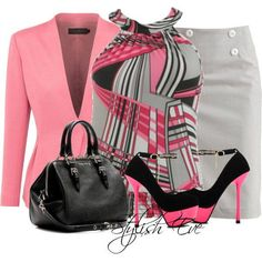 Pink and gray.  Although, I would pair this with simple black pumps.