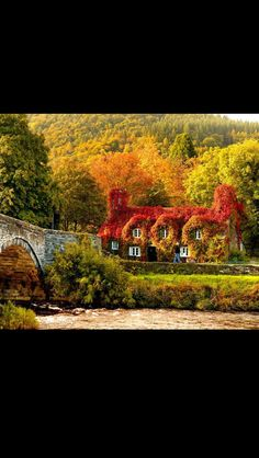 """Photo by La Maison des Fleurs : """"Isn't this just amazing! Autumn colours, where the sunlight hits the cottage that houses the Tu Hwnt i'r Bont tearooms on the banks of the River Conwy in Wales, UK. Fall Pictures, Fall Photos, Fall Pics, Random Pictures, Funny Pictures, Places Around The World, Around The Worlds, Beautiful World, Beautiful Places"""