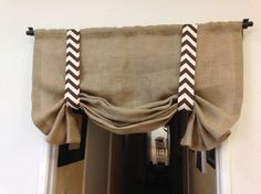 Yellow chevron/Burlap valance /home and by pillowpuff on Etsy Chevron Valance, Burlap Valance, Chevron Burlap, Bedroom Valances, Kitchen Window Valances, Kitchen Curtains, Valance Window Treatments, Window Coverings, Cortinas Shabby Chic