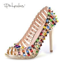 Pink Palms women summer shoes handmade colorful rivets high heels open toe sexy fashion strappy sandals