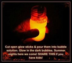 Put glow sticks into bubble solution for a nighttime fun activity. Put glow sticks into bubble solution for a nighttime fun activity. Summer Crafts, Fun Crafts, Crafts For Kids, Kids Diy, Crafty Kids, Busy Kids, Bored Kids, Family Crafts, Crafty Craft