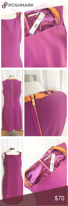 NWT Tahari Sheath Dress Sheath sleeveless dress with orange white and purple accent around the neckline on shoulders and back. Gold exposed zipper. Fully lined. Original price $110 T Tahari Dresses