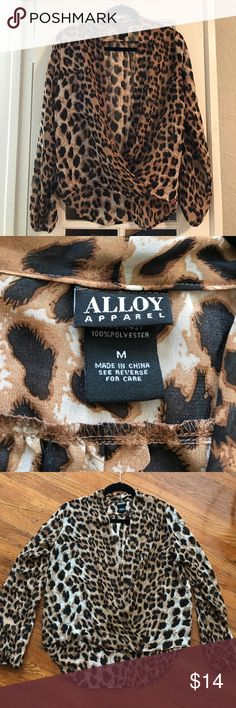 Fun leopard blouse ❤️ Great transition piece from summer to fall. Lightweight, leopard longer sleeve blouse, low cut and sheer, elastic band at wrist, only worn once! ALLOY Tops Blouses