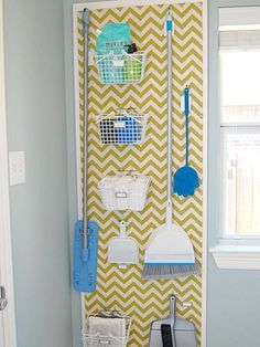 Hang laundry supplies (and brooms and mops, too), on a pegboard for easy access. Paint on a chevron pattern before installing to turn the board into fully functional wall art. See more at The Posh Space Decor, Laundry Mud Room, Room Organization, Baby Room Decor, Broom Closet Organizer, Room Upgrade, Laundry Room Organization, Laundry, Small Closet Organization