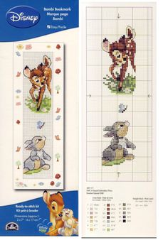 Bambi and Thumper Bookmark Cross Stitch Fairy, Cross Stitch Books, Cross Stitch Bookmarks, Cross Stitch Love, Cross Stitch Cards, Cross Stitch Samplers, Modern Cross Stitch, Cross Stitch Designs, Cross Stitching