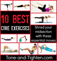 10 of the best core exercises from the doctor of physical therapy at Tone-and-Tighten.com. How many of them are you doing? #workout #exercise