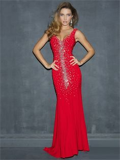 Red Straps V-neck Crystals Low V Back Chiffon Prom Dress PD1663 www.tidedresses.co.uk $269.0000