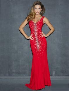 Red Straps V-neck Crystals Low V Back Chiffon Prom Dress PD1663 www.tidedresses.co.uk $269.0000