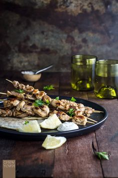 Spiced Chicken Kebabs with Lemon Flat Bread